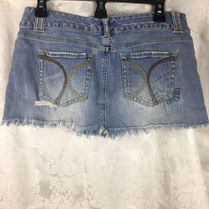 Ocean Drive Raw Hem Distressed Denim Jean Skirt